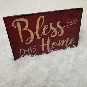 Bless This Home Red Stand Up Wall Art Home Decor